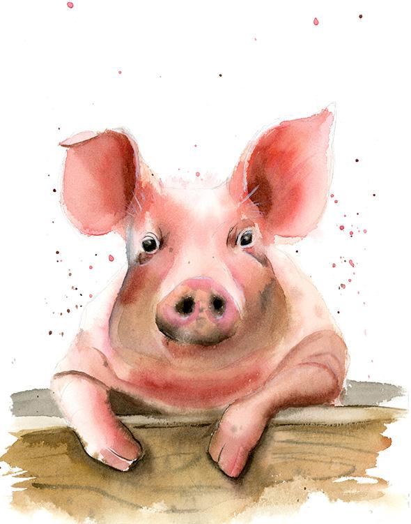Pig-watercolor-painting-wall-art-decor