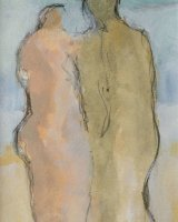 Sea couple II, mixed media, framed, 29 x 24cm