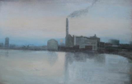 The Thames at Battersea (1990) - Oil on canvas - Framed 61 x 91 cms SOLD