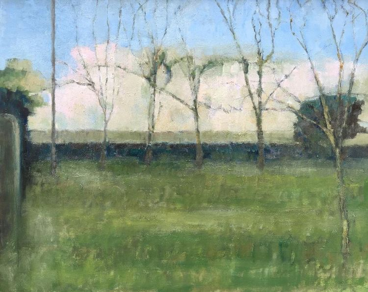 April trees, Oil, 60 x 24cms
