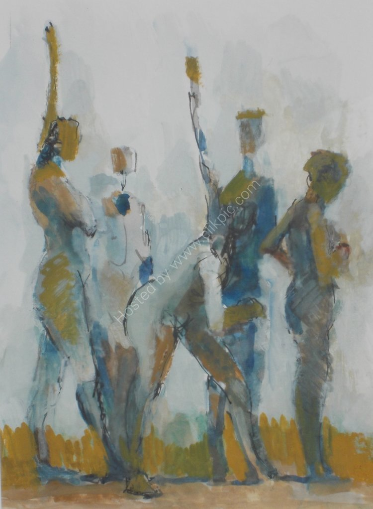 Athletes - Mixed media - Framed, 13 x 15 ins