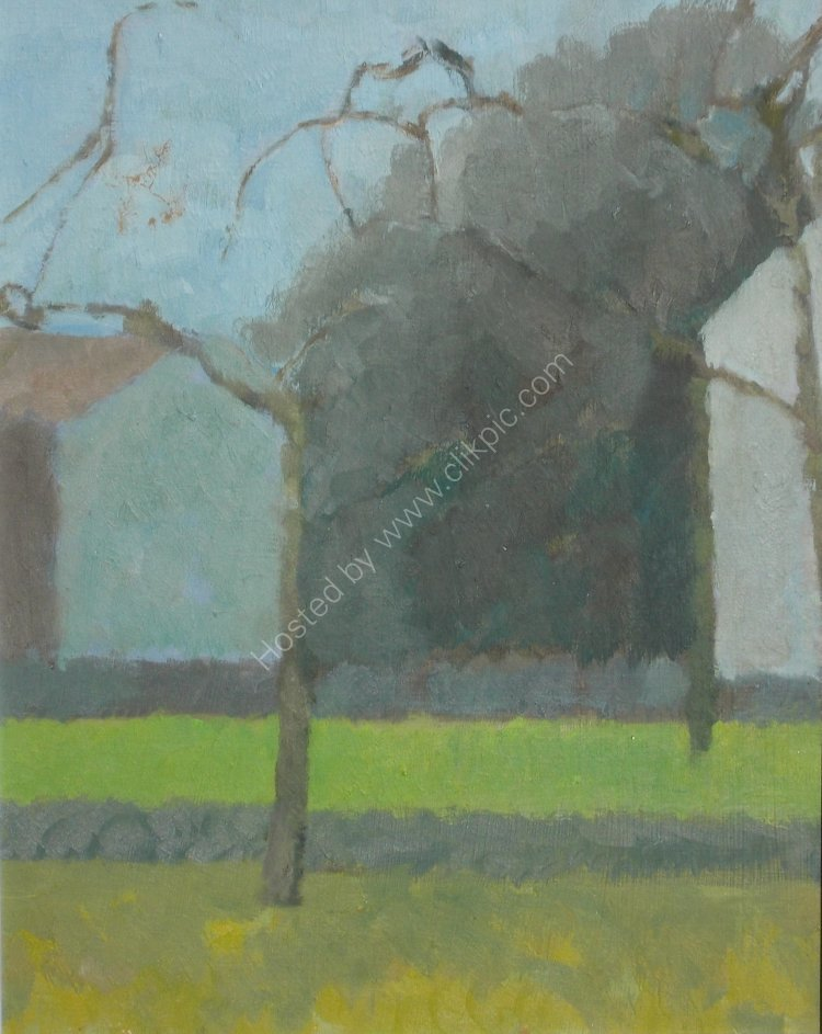 Early spring, France. Framed, 11 x 13ins, oil.