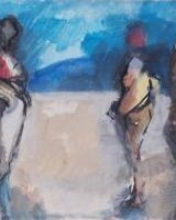 Five figures. Mixed media. Framed 22 x 34cms