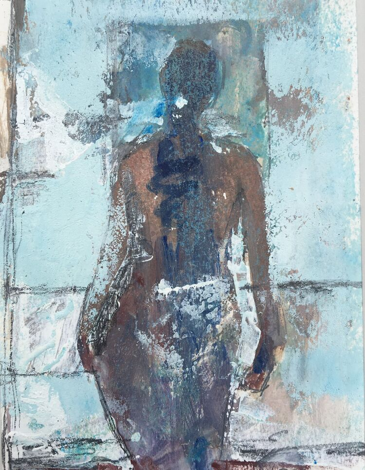 Interior with bather - Mixed media, 15 x 11cms