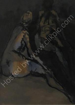 Night Figures - Framed 27 x 22cm Mixed media