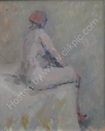Seated figure III - Oil - Framed 13 x 11 ins