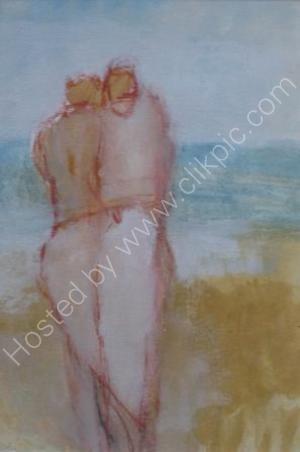 Sea couple I - Framed 27 x 22cm Mixed media