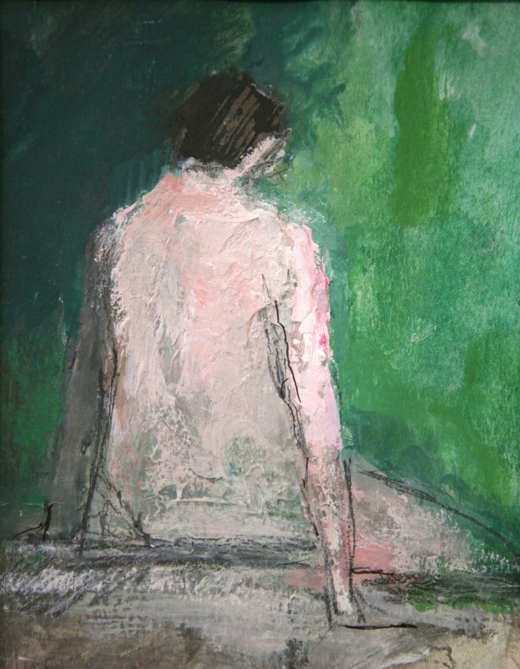 Seated figure V, Mixed media on paper, 27 x 22cms