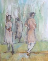 Three figures in a landscape - Watercolour. Framed 41 x 32cm