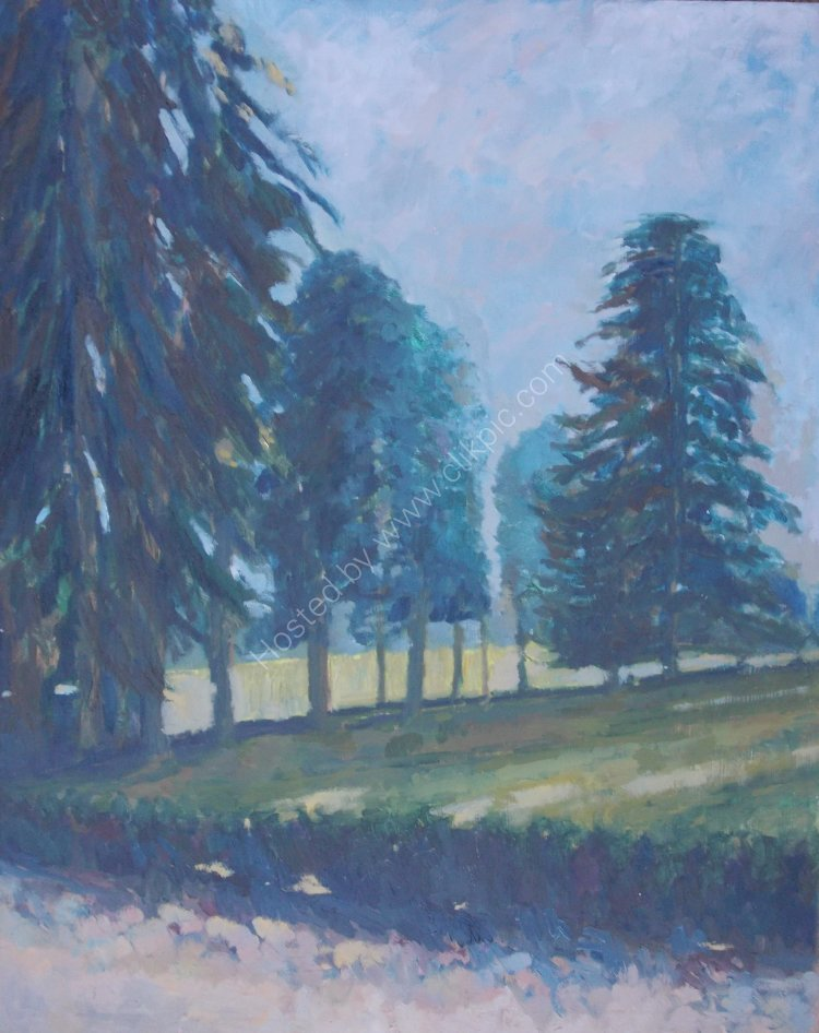 Trees at Le Porteau. Oil. Framed 60 x 50cm