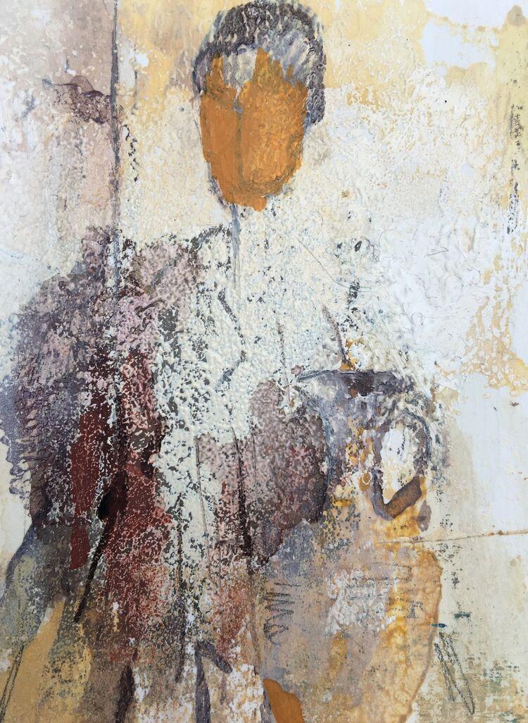 Figure and amphora, mixed media, 9 x 7cms