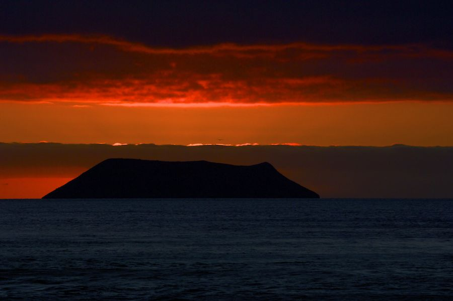 Volcano at sunset, Galapagos