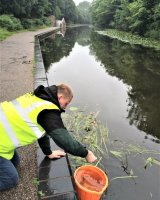 Collecting canal water...