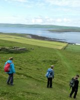 The wonderful walk down to Skaill Farm archaeological dig, Rousay