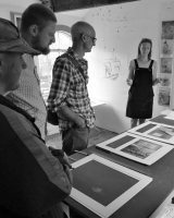 A visit to Artists Workhouse, talking with Dawn about curation