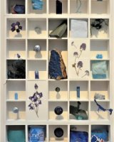 Completed assemblage, 67 found blue objects