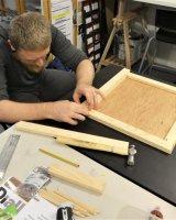 Kallum working on his display box