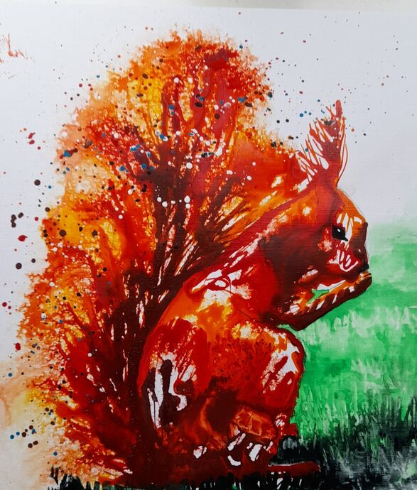 Squirrel in Acrylic Ink
