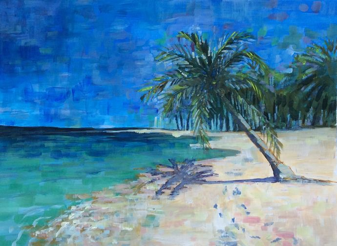 Relaxing Beach Acrylic Painting