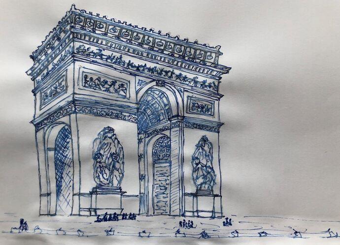Paris Continuous Line Drawing