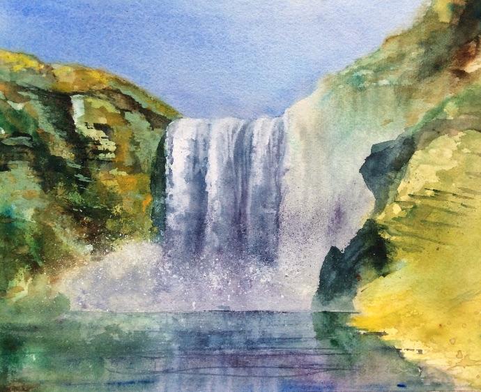 Waterfall - Watercolour