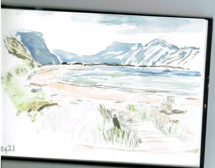 New Zealand Drawing with Watercolour