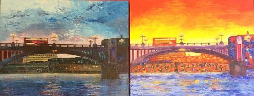 London Bridge (Acrylic) two paintings