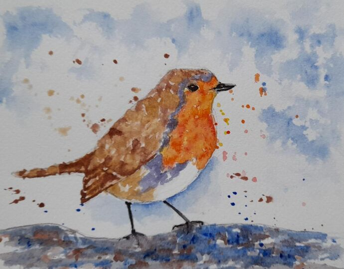 Robin in Watercolour or Acrylic