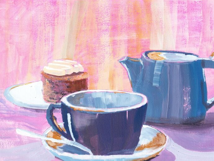 Acrylic Cup of Tea and Cake Step by Step Painting
