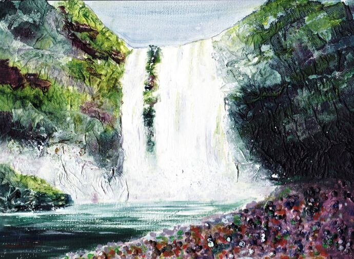 Waterfall in Acrylic - adding textures