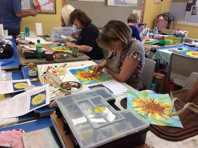 Painting Sunflowers in Watercolour or Acrylics