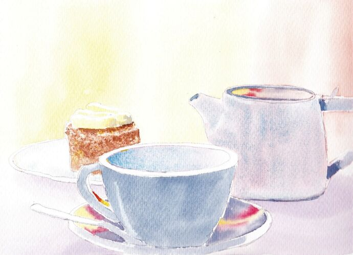Watercolour Cup of Tea and Cake Step by step