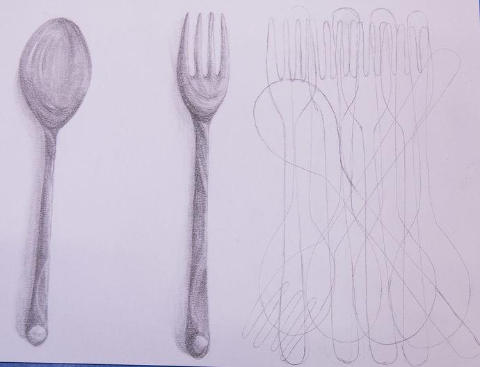 drawing cutlery