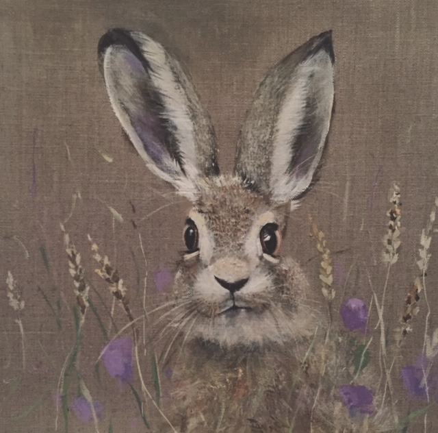 Hare and clover by Lisa Shearing