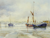 Thames barges at Pinmill by Judith Armstrong