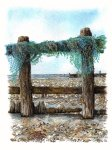 Wrapped up on Climping Beach by Karen Halsey