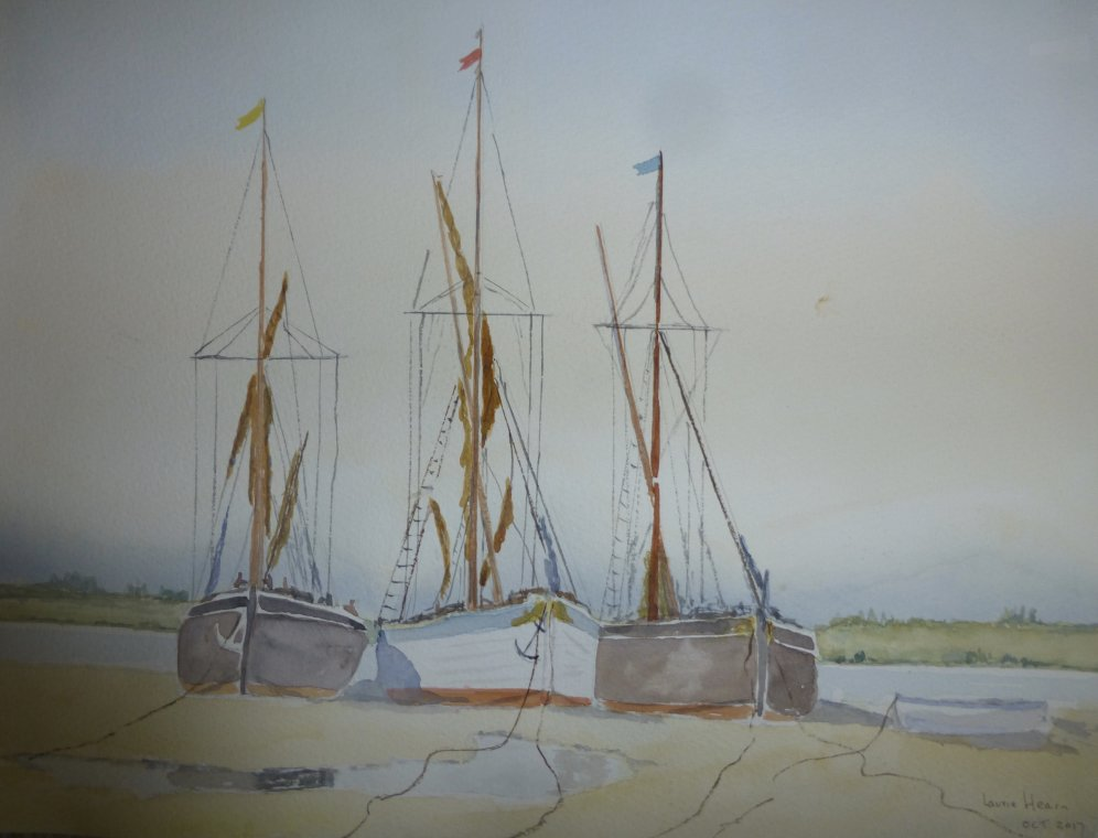 Barges on the mud by Laurie Hearn