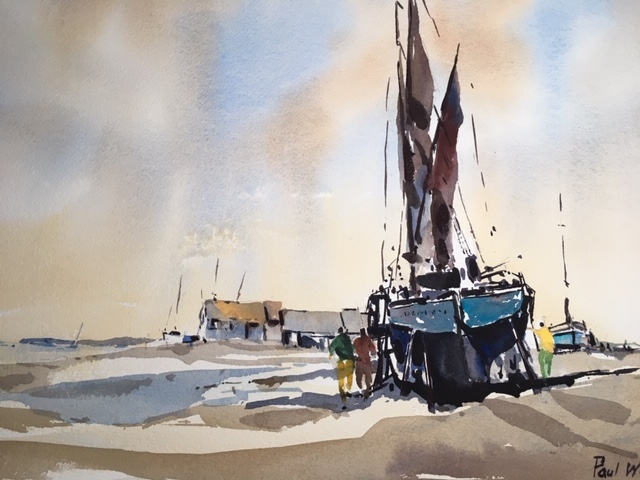 Thames barge at low tide by Paul Witton