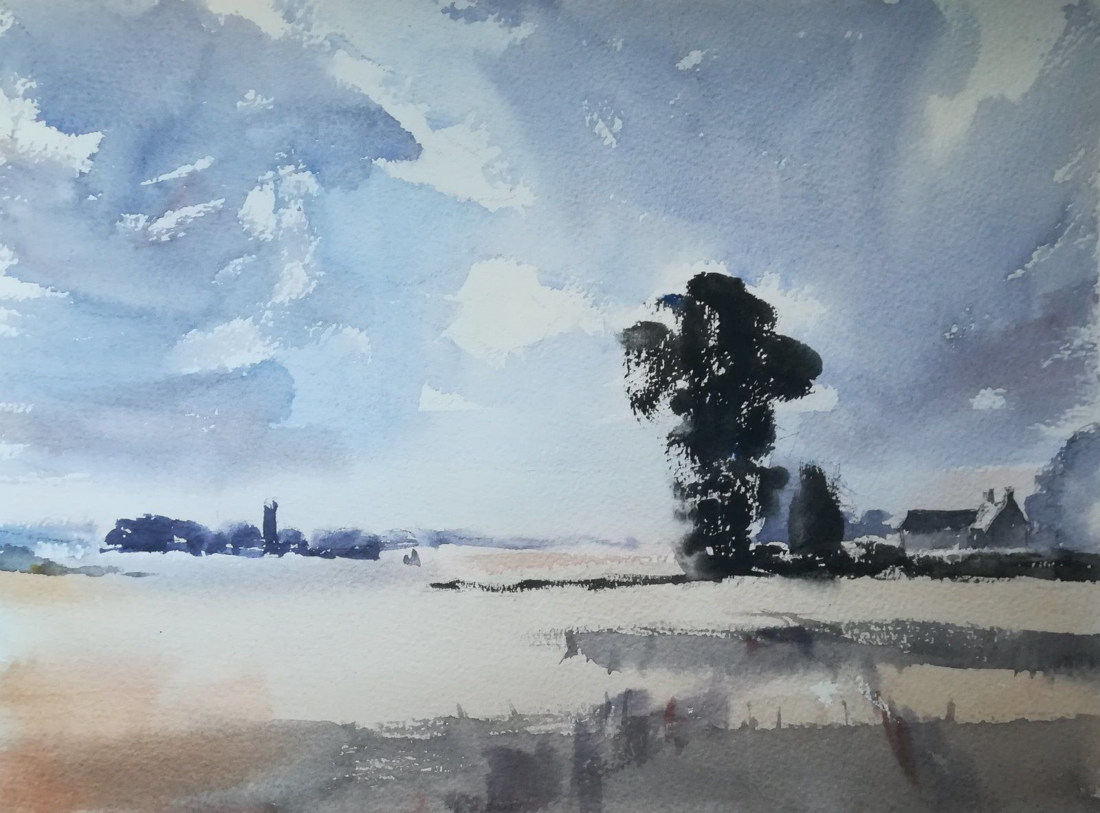 Below the Clouds -  (currently unavailable) Original watercolour £250.00 (framed)