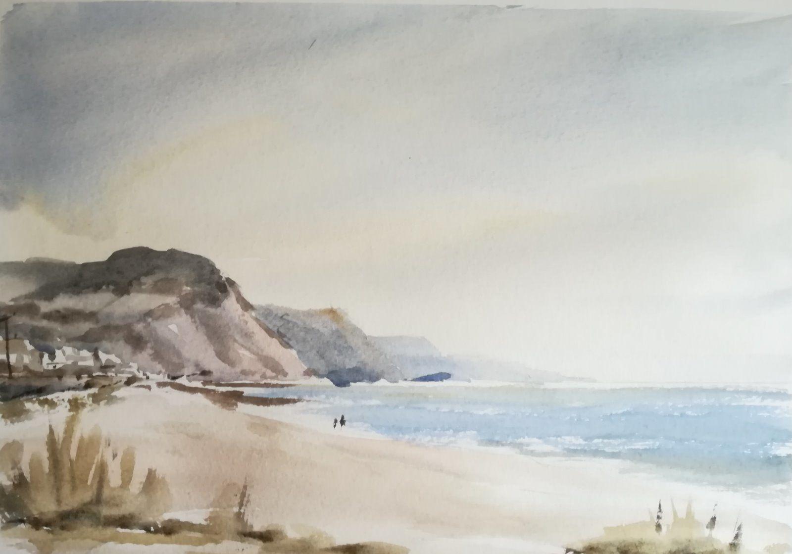 Rainy Sidmouth beach 2018