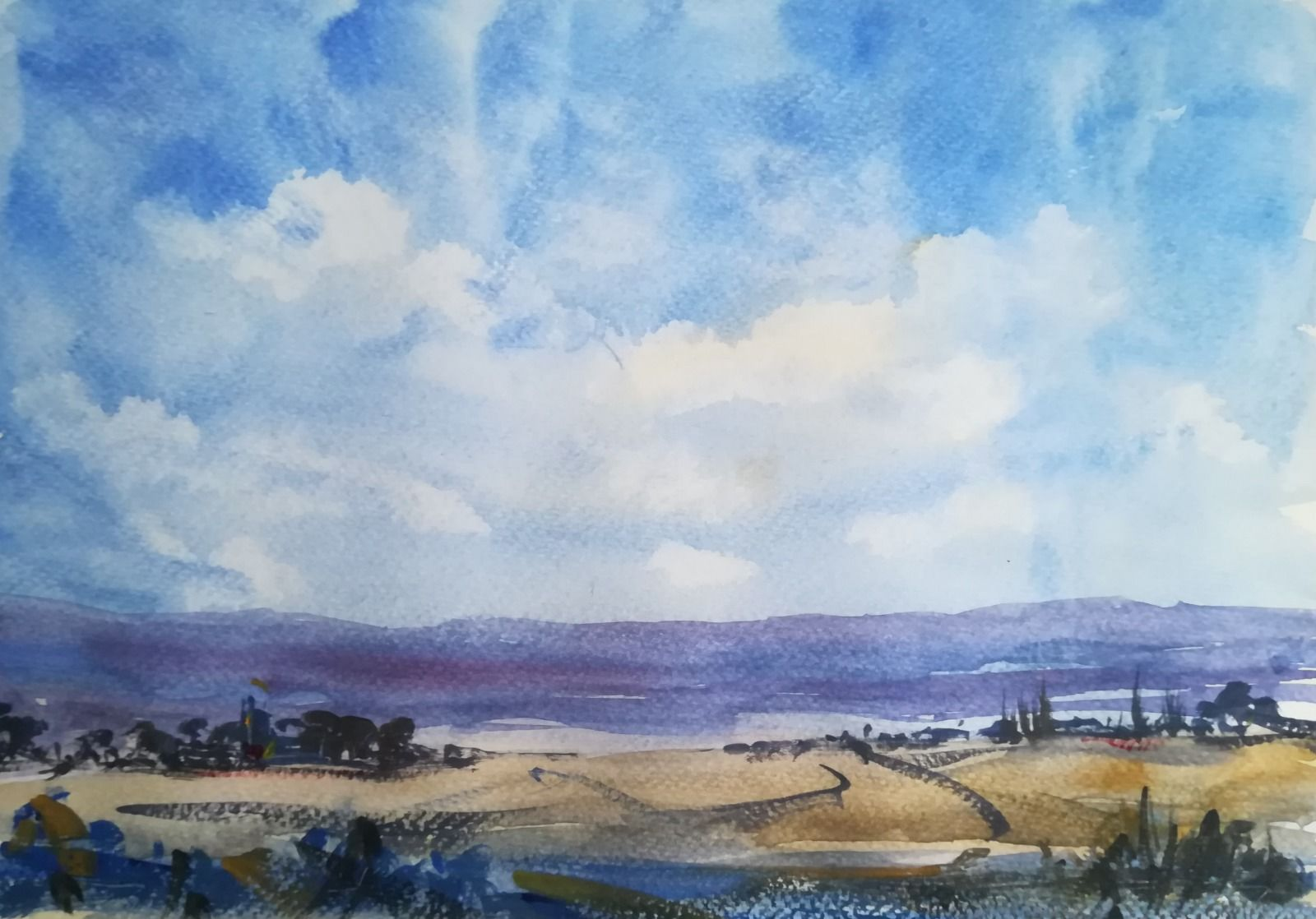 "A View over the Teign Estuary, Devon ~ (currently unavailable) original watercolour 12.5"" x 9"" £220.00"