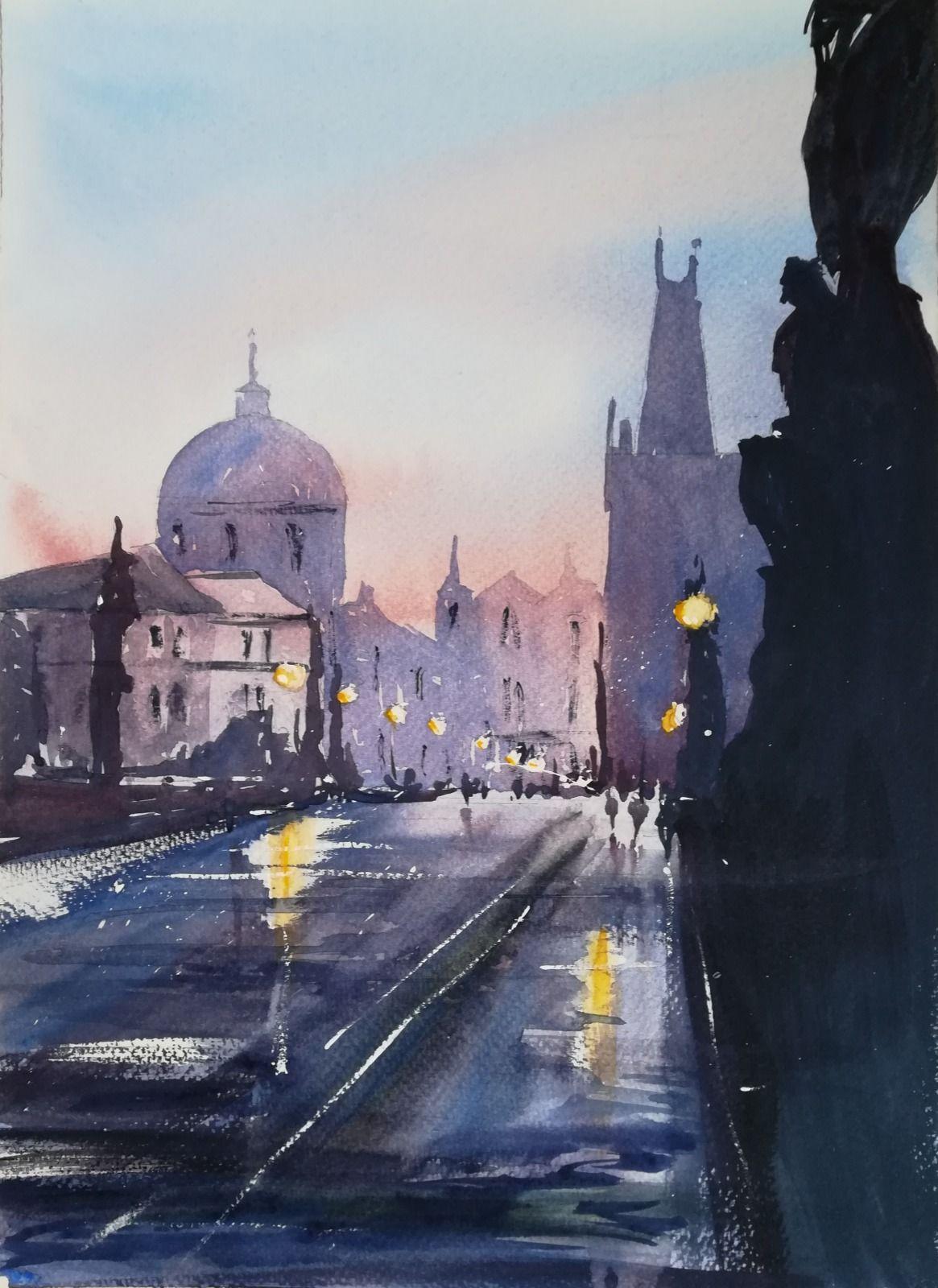 """City Lights ~ Watercolour 13"""" x 9.5"""" (unframed) £195.00"""