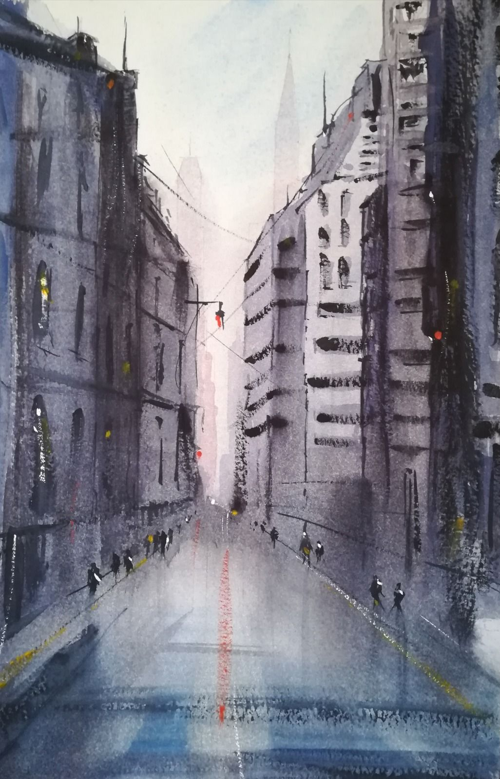 "Downtown ~ Watercolour (unframed) 11"" x 7"" £110.00"