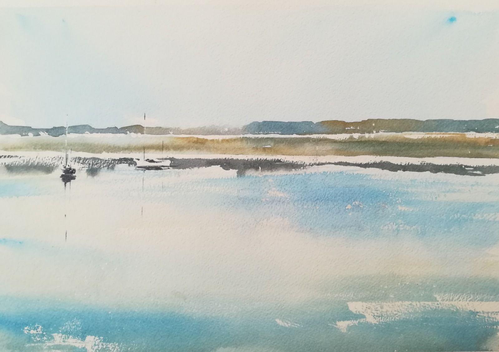 "Topsham Quay, River Exe - 15 x 10"" approx (unframed) Bockingford 140lb NOT £250.00"