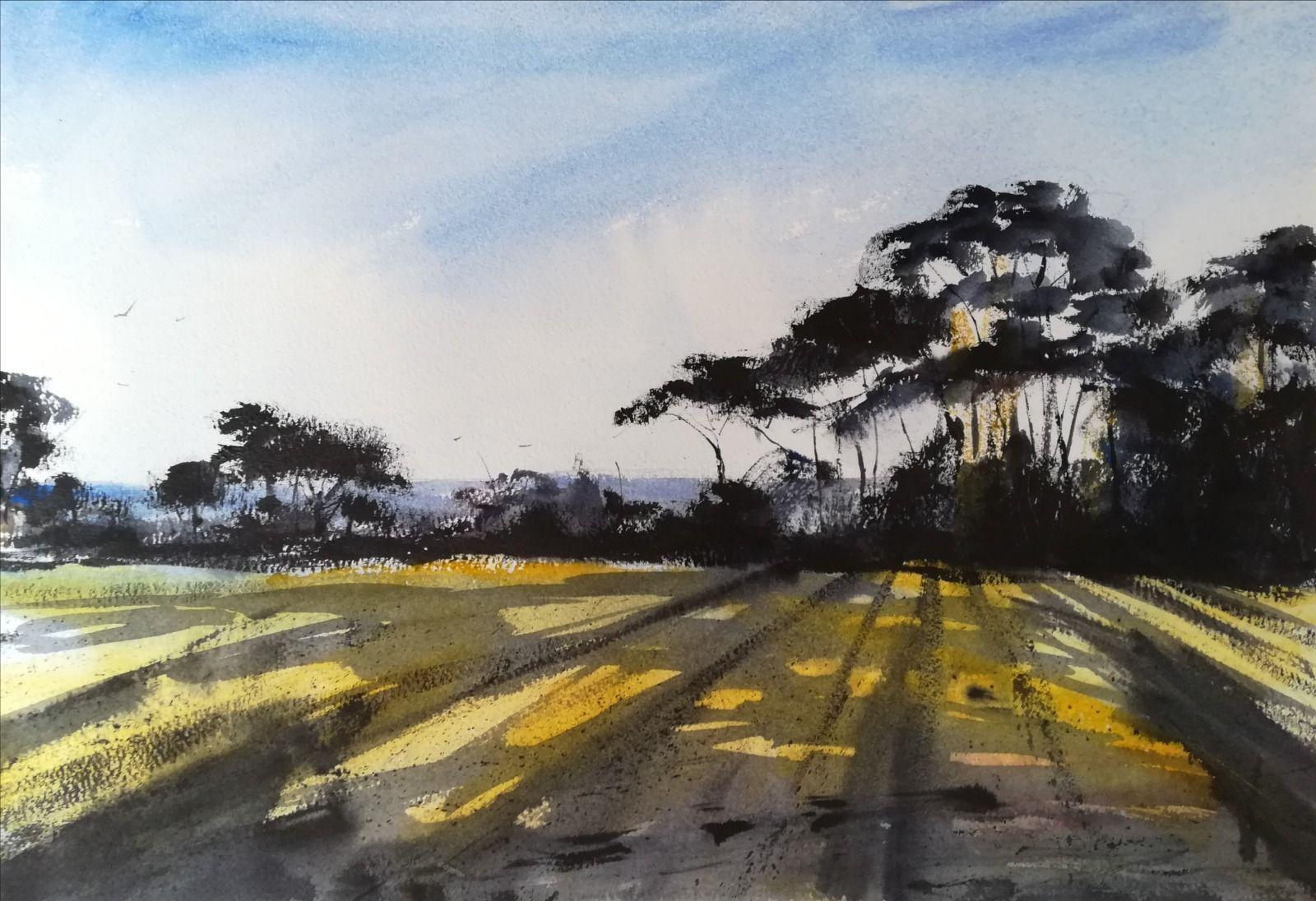 "Towards Thatcher Rock, Devon ~ (currently unavailable) original watercolour £250.00 (15.5 x 10.5"" unframed)"