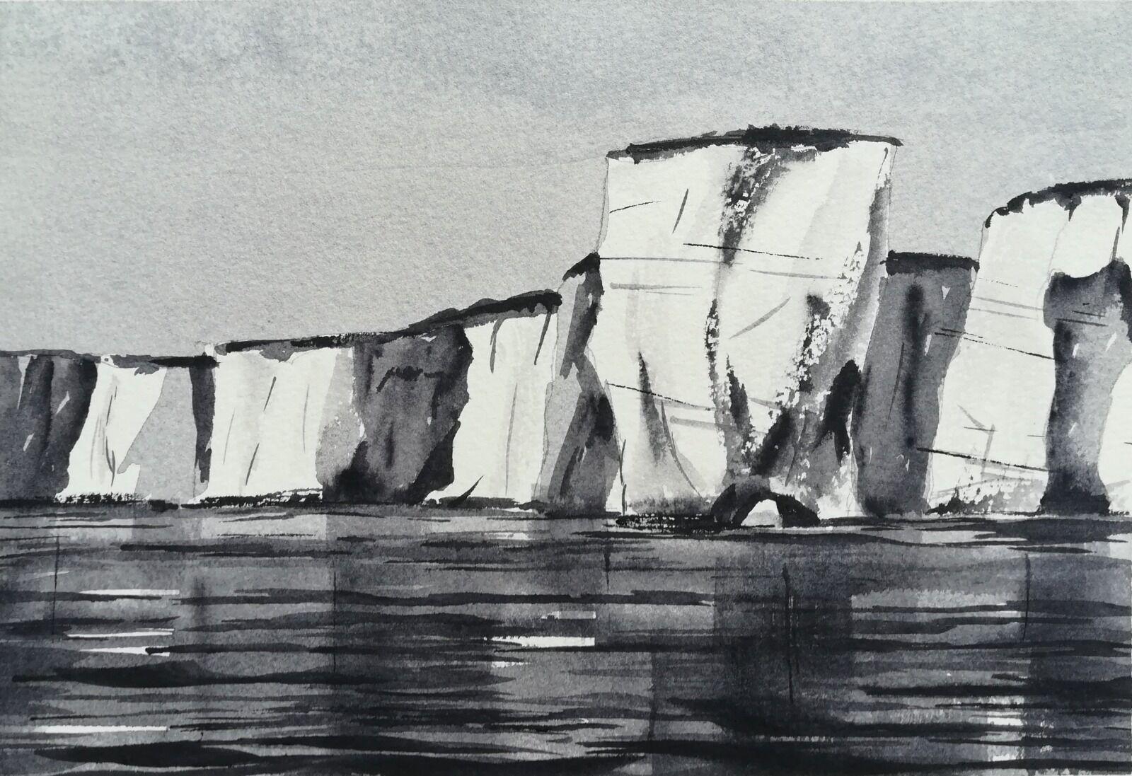 "Old Harry Rocks (2), Dorset ~ studio tonal study (unframed) 7.5 x 5"" 90lb NOT £45. 00"