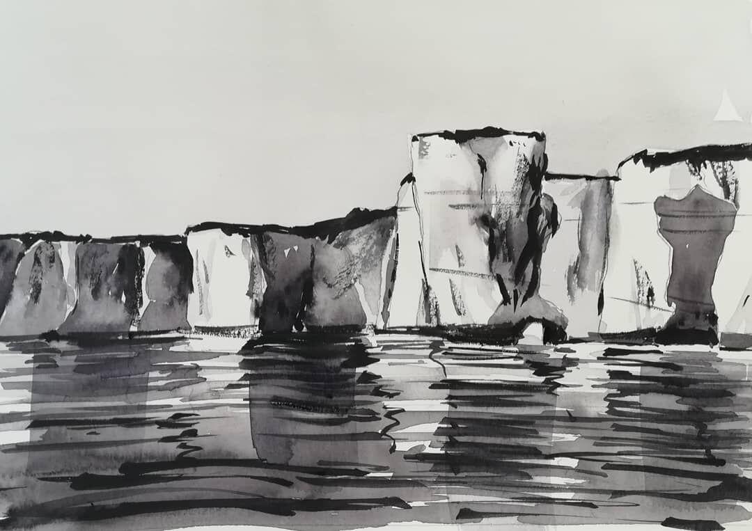 "Old Harry Rocks (3), Dorset ~ studio tonal study (unframed) 7 x 5"" 90lb NOT £45.00"