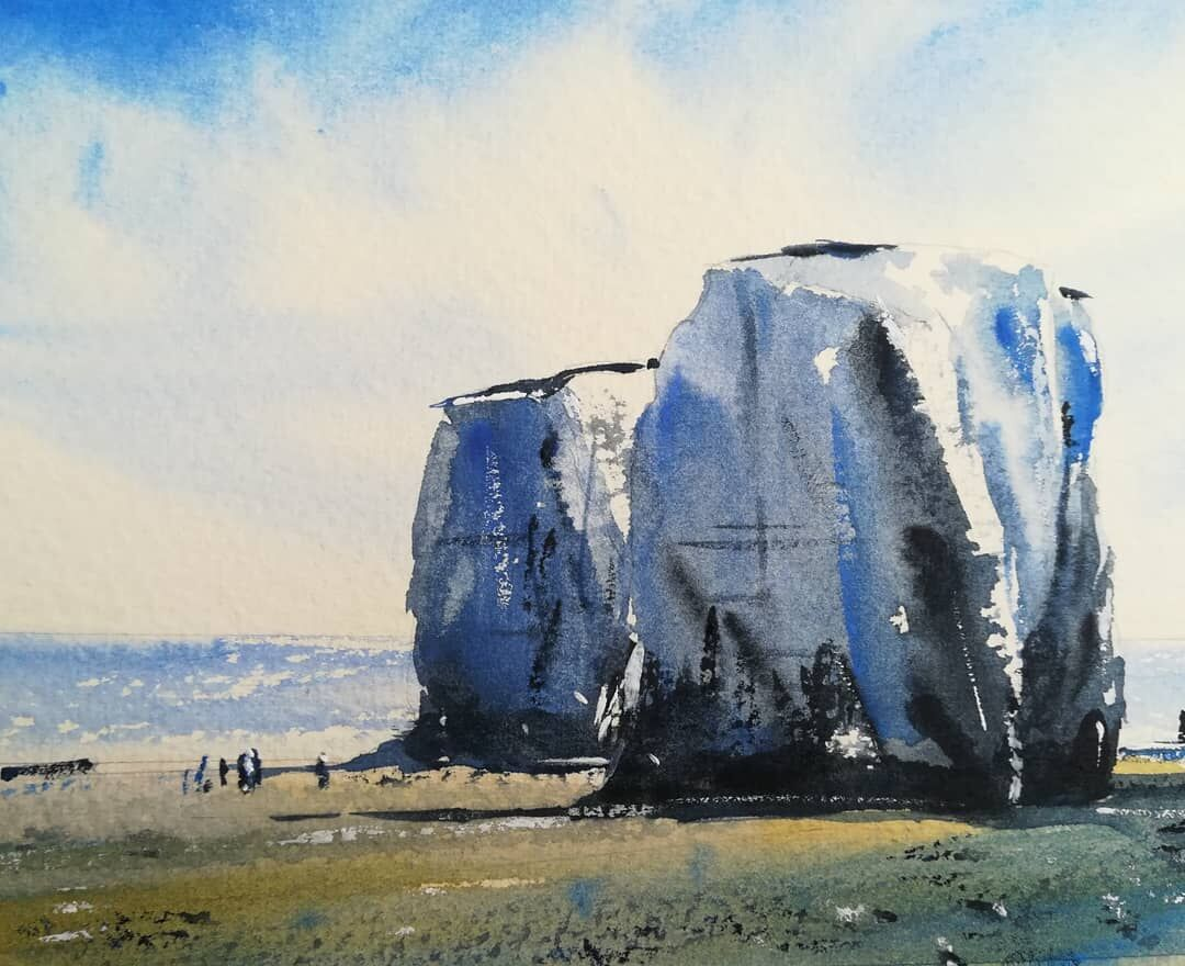 Old Harry Rocks (4) ~ original watercolour on Saunders Waterford 140lb Rough. More details to follow