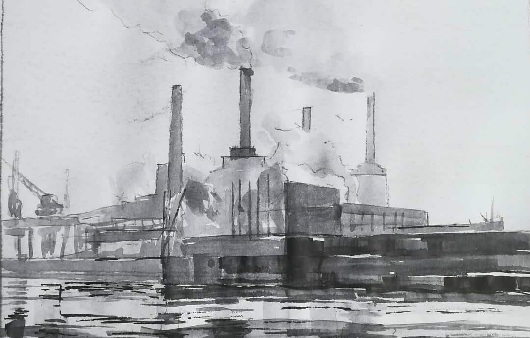 Battersea Power Station 1 ~ original watercolour. More details to follow