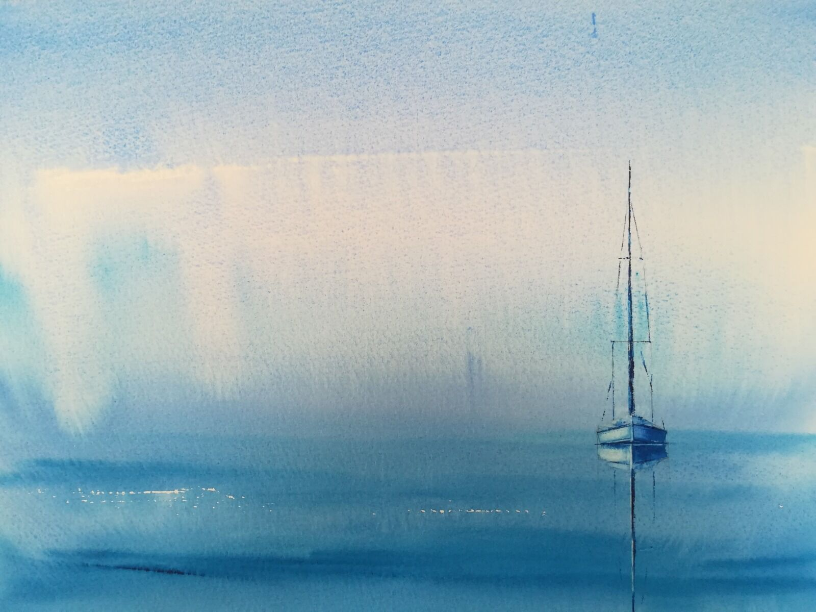"Blue Solitude ~ original watercolour (approx 14 x 10"") Bockingford 140lb NOT (not mounted/unframed) £200.00"